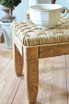 Update an old wood footstool by weaving twine over the top.  |  www.andersonandgrant.com