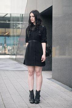 Simple | belted black dress + booties | faiiint