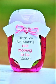 Thank you for honoring our Mommy To Be personalized gift tag with pink and grey writing ~ Baby Shower Onesie Hand Sanitizer Thank You Gift Tags ~ Party Favor ~ Bath & Body Works ~ Pocketbak ~ www.KendollMade.com