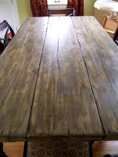 """how to create your own """"antique"""" farmhouse table from a modern one"""