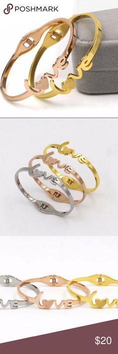 ONE  piece left ! Rose Gold Plated Love Bracelet. Material: Titanium Stainless Steel.  High quality!! Cute and Trendy! Gift for Valentine's Day! Last piece available in rose gold! Jewelry Bracelets