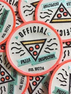 Become the official Pizza Inspector in your group of friends. Embroidered patch with iron on back. Featured totally awesome neon pink thread as an accent. in diameter Kodiak Milly Cute Patches, Pin And Patches, Iron On Patches, Funny Patches, Jacket Patches, Embroidery Patches, Embroidered Patch, Embroidery Applique, Embroidery Designs
