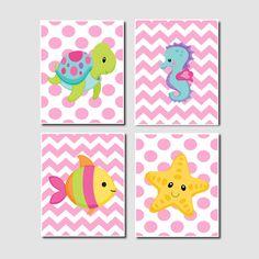 Baby Girl Nautical Ocean Sea Animals Chevron Turtle Seahorse Starfish Fish Set of 4 Prints Girl Nursery Crib Bathoom Wall Art Decor Picture by LovelyFaceDesigns on Etsy https://www.etsy.com/listing/165492690/baby-girl-nautical-ocean-sea-animals