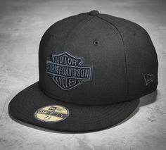 Not your ordinary black baseball cap. | Harley-Davidson Men's Tonal Bar & Shield Logo 59FIFTY Cap
