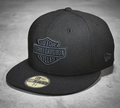 Not your ordinary black baseball cap. | Harley-Davidson Men's Tonal Bar & Shield Logo 59FIFTY Cap