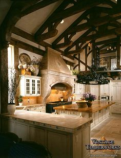 French Country Hand Hewn Douglas Fir Kitchen-- looove this kitchen!