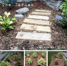 Wooden Pathway | DIY Wooden Walkway for Instant Curb Appeal by DIY Ready at  http://diyready.com/diy-ideas-home-improvement-on-a-budget/