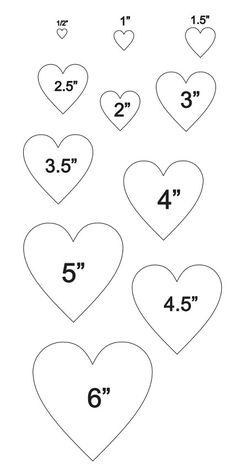 PLANTILLA de corazones con 11 total  tamaños.5 6 por OaklandStencil