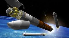 An Ares V rockets heads for the moon in an artist's rendering. Ares V, Nasa Spaceship, Lunar Lander, Science Articles, Aerospace Engineering, Joke Of The Day, Aircraft Design, Science Fiction Art, Space Travel
