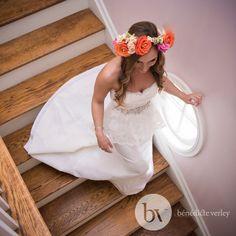 Bénédicte Verley PHOTOGRAPHY Beautiful bride going down stairs.  Boston wedding