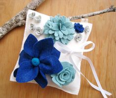 Wool Felt Flowers Wedding Ring Pillow - Cobalt and Turquoise, Light Gray White via Etsy