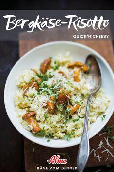 Das Bergkäse-Risotto ist ein wahres Schlemmermenü und super schnell und einfach! Super, Curry, Ethnic Recipes, Food, Mushroom Risotto, Easy Cooking, Fast Recipes, Good Food, Mushrooms