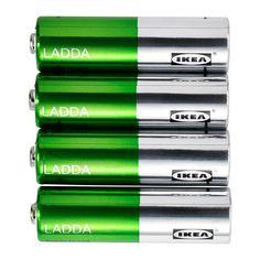 IKEA - LADDA, Akku, aufladbar, Die Batterie ist einsatzbereit.Die Batterie ist für verschiedene Produkte geeignet wie MP3-Player, Digitalkameras, Spielsachen, Uhren, Fernkontrollen usw.