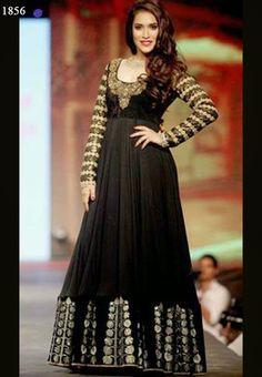 Rashmi Nigam Floor Length Black Anarkali Suit