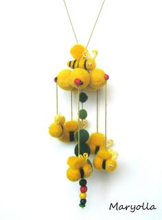 Bee mobile large bee mobile nursery mobile cot mobile by Maryolla