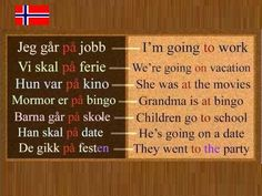 Norwegian Prepositions Explained: ( i ) eller (på) Part 1 French Lessons, Spanish Lessons, Teaching Spanish, Spanish Activities, Teaching French, Swedish Language, German Language Learning, Turkish Language, Japanese Language