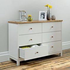 Debenhams Oak and painted 'Burlington' wide 6 drawer chest- at Debenhams Mobile