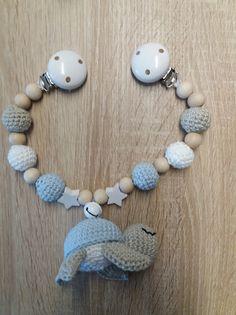 Kinderwagenkette - Schildkröte hellblau/graubeige