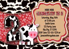 Cow & Red Bandana Invitation MellysHandmades on Etsy