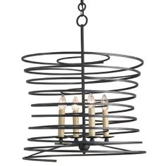 Iron Spiral Chandelier Coils of black iron spiral around 4 candle lights, ready for bistro kitchens and urban loft entryways. Modern art with a touch of whimsy!