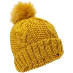 Miss Selfridge Ochre Chunky Hat (810 RUB) ❤ liked on Polyvore featuring accessories, hats, ochre, acrylic hat, chunky hat and miss selfridge