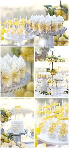 Dulces apetecibles para una fiesta amarillo y gris / Appealing desserts for a yellow and grey party Dessert Party, Dessert Tables, Party Desserts, Party Tables, Dessert Cups, Wedding Desserts, Wedding Cupcakes, Summer Desserts, Dessert Ideas