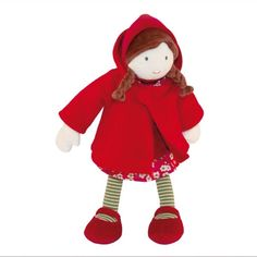 Voici le petit chaperon rouge, un magnifique personnage de conte traditionnel pour enfants, édité parMoulin Roty. Elle porte une belle cape à capuchon rouge sur une chasuble fleurie qui peut s'enlever. Un personnage qui accompagnera le quart d'heure lecture de conte du soir ! Collection Mémoire d'Enfant. H: 32 cm. 44,00 € http://www.lafolleadresse.com/peluches-et-doudous/2444-petit-chaperon-rouge-moulin-roty.html