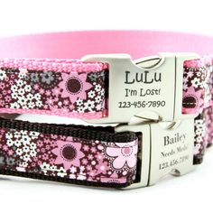 Pink & Brown Floral Personalized Dog Collar, $29.99
