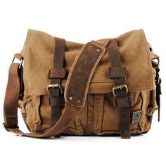 Brown Military Style Messenger Bag - Larger Version