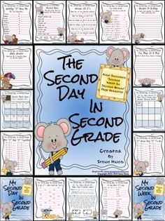 """BEST SELLER! Second Day In Second Grade Unit: A Back-To-School Packet For 2nd Grade. NOW EXPANDED TO 40 PAGES TO INCLUDE """"SECOND WEEK IN SECOND GRADE"""" PAGE HEADERS AND STUDENT COVERS! $"""