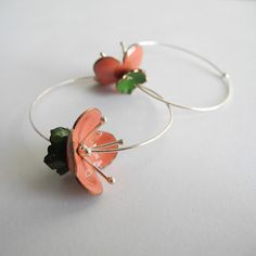 Coral Cherry Blossom Hoops by heatherwangjewelry on Etsy, $48.00