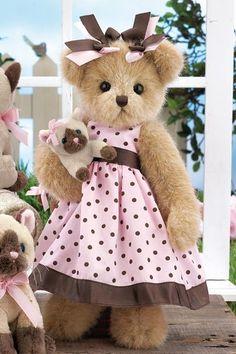 "Bonnie & Blueeyes - 14"" Spring 2011 Teddy Bear & Kitten by Bearington"