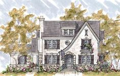 Eplans French Country House Plan - Four Bedroom French Country - 3712 Square Feet and 4 Bedrooms(s) from Eplans - House Plan Code French Country Tudor French Country Exterior, French Country House Plans, European House Plans, French Cottage, French Country Style, French Country Decorating, English Cottage Exterior, Tudor House Exterior, Tudor Cottage