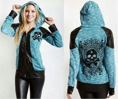 Teal skull hoodie