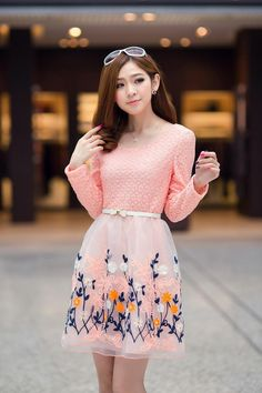 Dress Brokat Korea Motif Bunga http://www.eveshopashop.com/mini-dress-motif-bunga-cantik-terbaru/