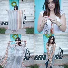 scarf to kimono tutorial - turn any long scarf into a DIY kimono in about 30 seconds! - no sewing! goes back to normal scarf after wearing it