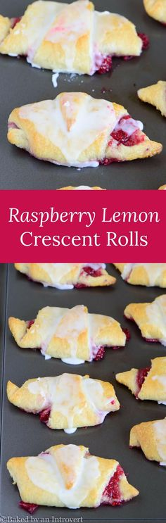 Easiest Raspberry Lemon Crescent Rolls right at your fingertips. Crescent rolls filled with sweet raspberries, topped with a lemon glaze. via @introvertbaker
