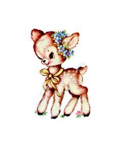 Muursticker Little Fawn Small Vintage Artwork, Vintage Images, Cartoon Lamb, Bambi, Sketch Inspiration, Baby Deer, Vintage Cartoon, Vintage Greeting Cards, Vintage Easter