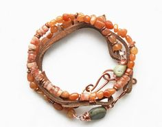 Leather Beaded Bracelet, Wrap, Wire Wrapped Jewelry, Handmade Bracelet, Sunstone, African Copper, Bohemian Jewelry via Etsy Like the copper hooks.