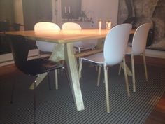 Client in Denmark sent us this image. Veizla table in ash, with Noor chairs and Jacobsen's Series 7 chairs.