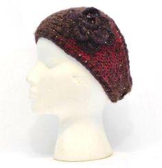 Winter Mudd Women Brown Red Purple Flower Headband Knit Fashion Snow Warm 3177