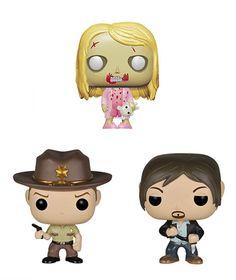 Pack 3 cabezones 4 cm The Walking Dead. Línea Pocket POP!. Funko Precioso pack compuesto de 3 cabezones de 4 cm de altura cada uno de la niña zombie con osito, el sheriff Rick Grimes y Daryl Dixon, protagonistas de la exitosa serie de TV The Walking Dead y 100% oficiales y licenciados.
