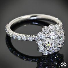 Leon Mege Lotus Halo Diamond Engagement Ring with Round Diamond. Reminds me of my grandmas ring Engagement Ring Styles, Halo Diamond Engagement Ring, Vintage Engagement Rings, Diamond Wedding Bands, Wedding Rings, Solitaire Ring, Wedding Stuff, Dream Wedding, Sister Rings
