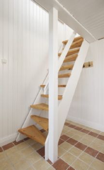 Space saving stairs in wood ideal for small spaces, but prefer the full stair. One missed step, and I'd be flying down the stairs.