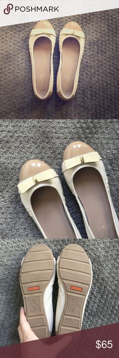 Cole Haan Nike Air tech flats, cream & gold, sz 7 Cole Haan cream, tan flats with cute bows and gold hardware; Nike Air technology makes them the most comfortable flats you'll ever wear, leather and patent leather, size 7, barely any wear. Cole Haan Shoes Flats & Loafers