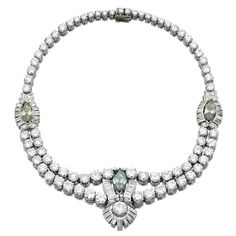 Diamond necklace, late 1930s -  Set with circular-, brilliant-cut and baguette diamonds, highlighted with three marquise-shaped diamonds of yellowish, green and brownish artificially treated tints