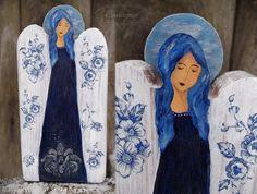 Blue angel with decoupage flowers, reclaimed wood