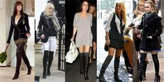 Anne Hathaway, Kate Moss, Blake Lively, Lindsay Lohan, and Hayden Panettiere wearing over-the-knee boots