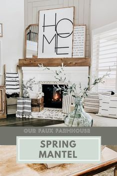 Our Faux Farmhouse ◊ Spring ◊ Fireplace ◊ Rustic ◊ Decor Rooms Home Decor, Living Room Decor, Diy Home Decor, Farmhouse Style Decorating, Decorating Your Home, Interior Decorating, Decorating Ideas, Farmhouse Artwork, Faux Fireplace