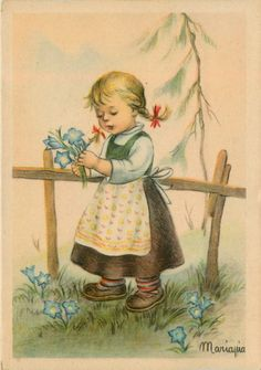 Artist Signed Mariapia Girl Picking Flowers Vintage Postcard | eBay